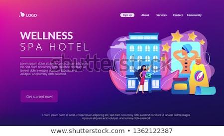 Wellness fürdő hotel leszállás oldal üzletasszony Stock fotó © RAStudio
