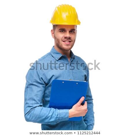 Stok fotoğraf: Portre · yakışıklı · mühendis · öğrenci · mavi