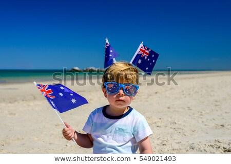 patriotyczny · dziewczyna · plaży · kobiet · australijczyk - zdjęcia stock © lovleah