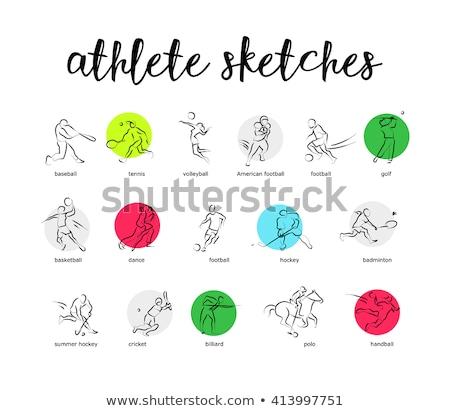 ストックフォト: 選手 · セット · ベクトル · 男 · 女性 · ハンドボール