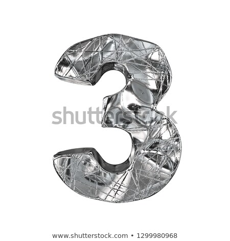 Stock photo: Grunge aluminium foil font number 3 THREE 3D