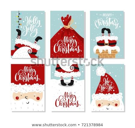 Foto stock: Navidad · establecer · tarjetas · Cartoon · vector