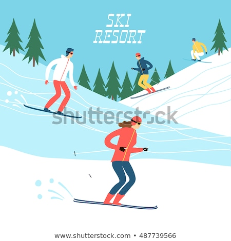 Skating Skiing People Wintertime Activity Vector Stock photo © robuart