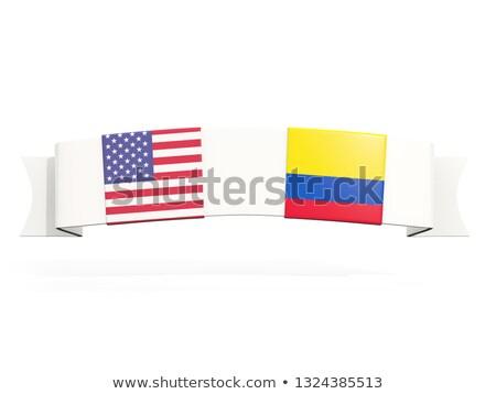 Bandeira dois praça bandeiras Estados Unidos Colômbia Foto stock © MikhailMishchenko
