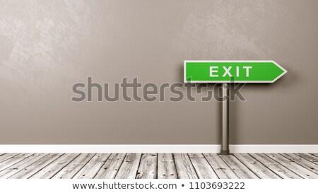 Uitgang pijl verkeersbord kamer exemplaar ruimte groene Stockfoto © make