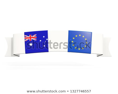 Banner with two square flags of Australia and European Union Stock photo © MikhailMishchenko