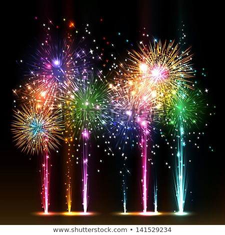 Firework Vector. Holiday Anniversary Salute Burst. Isolated On Transparent Background Realistic Illu Stock photo © pikepicture