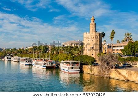 Architecture of Seville along Guadalquivir River Stock photo © benkrut