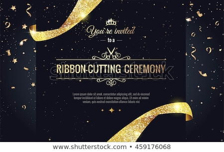 Foto stock: Gold Vector Ribbons And Banners On Black Background