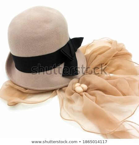 Nő kalap sál fények tél ünnepek Stock fotó © dolgachov