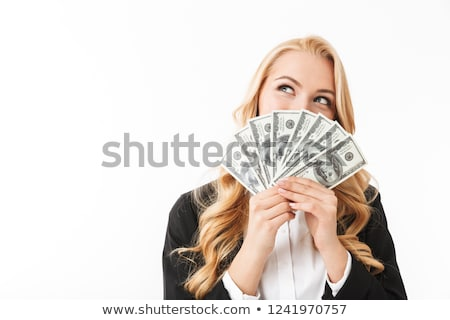 Portrait of businesslike woman wearing office clothing holding f Stock photo © deandrobot