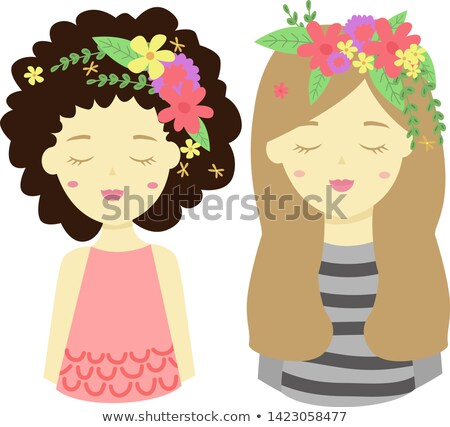 Characters girls avatars with flower on head in cartoon style, emoji icons, animoji, summer concept, Stock photo © ikopylov