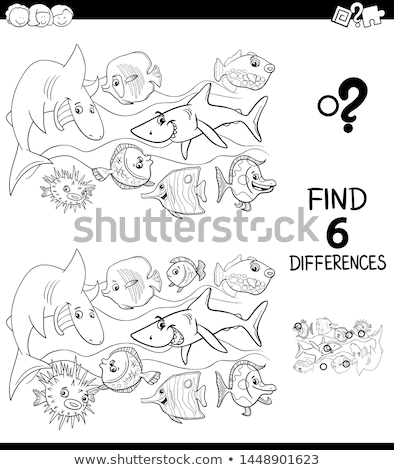 differences color book with happy fish characters Stock photo © izakowski