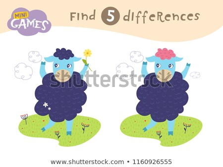 finding differences game with farm sheep Stock photo © izakowski