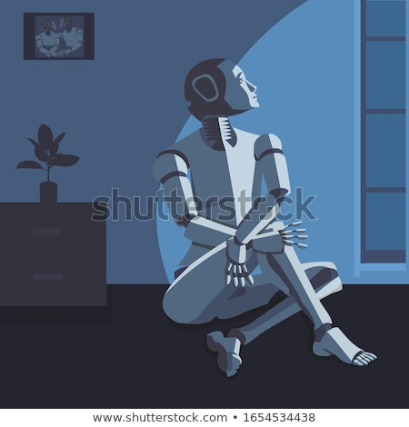robot artificial intelligence thinks dreams. isolate on white background Stock photo © studiostoks