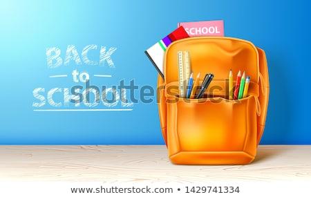 Terug naar school poster modieus rugzak goederen flyer Stockfoto © robuart