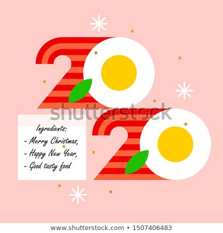 Numbers 2020 look like eggs with bacon for cook food theme Stock photo © ussr
