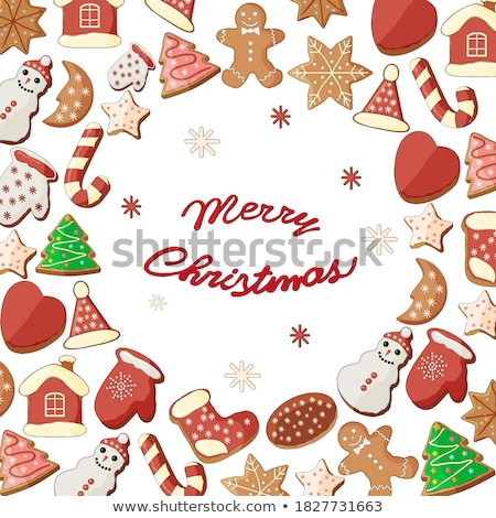 Christmas greeting card with gingerbread cookies and sweets Stock photo © karandaev