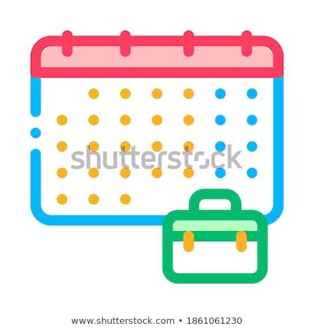 Naptár bőrönd tok álláskeresés vektor ikon Stock fotó © pikepicture