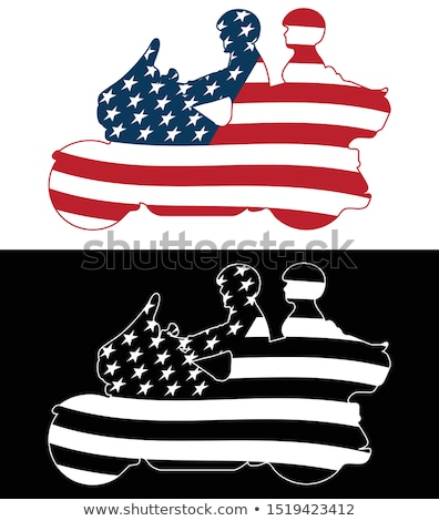 Patriotic American Flag Touring Motorcycle Isolated Silhouette Vector Illustration Stock photo © jeff_hobrath