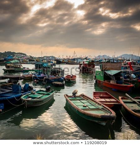 Fishing Village under Magic Hour Stock photo © galitskaya