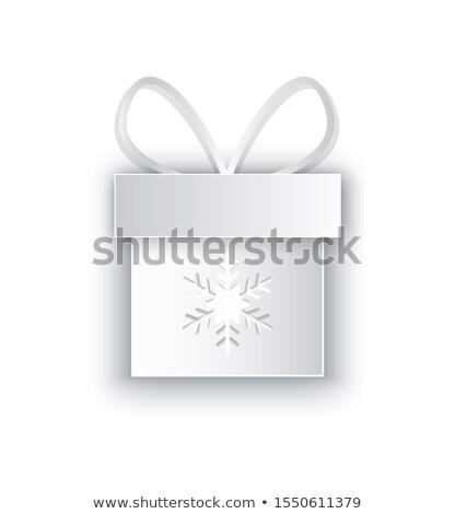 Papír kivágás doboz hópehely díszített íj ikon Stock fotó © robuart
