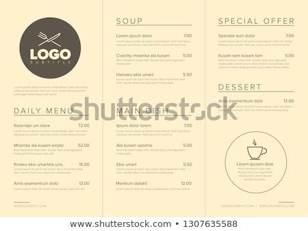 restaurant · menu · paars · vork · mes · lepel - stockfoto © orson