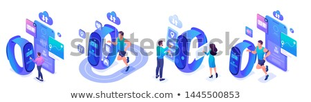 Isometric flat vector concept of fitness tracker, smart watch,smart phone sport and healthy lifestyl Stock photo © benzoix