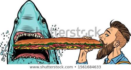 Tubarão homem alimentação fast-food sanduíches fome Foto stock © studiostoks