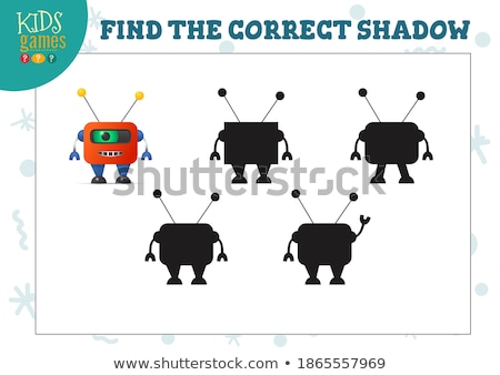 matching shapes game with cartoon alien characters Stock photo © izakowski