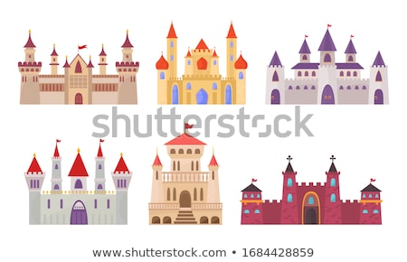 Medieval European castle, church and building Drawing Stock photo © patrimonio