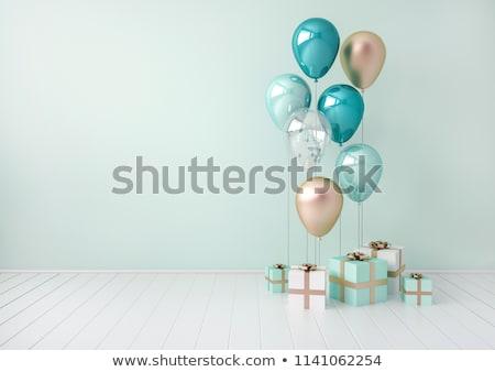 Mutlu yıllar gerçekçi 3D balonlar çocuklar çocuk Stok fotoğraf © SArts