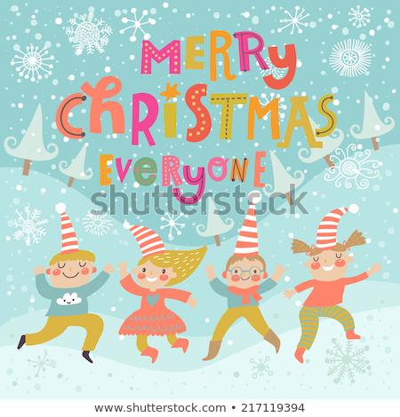 Christmas Card with Fir-tree and Elves Vector Stock photo © robuart