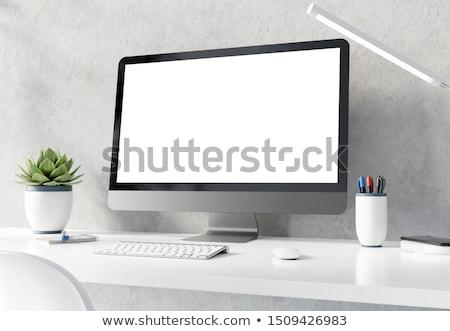 Workspace таблице конкретные стены реалистичный 3D Сток-фото © sedatseven