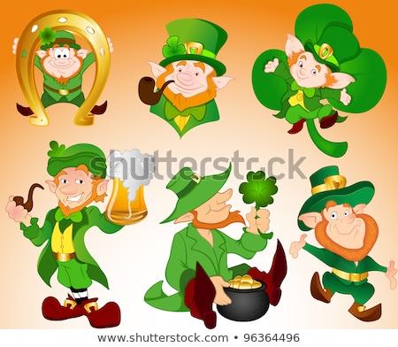 Foto stock: Portrait Of Leprechaun Irish Man With Clover Leaf And Hat St