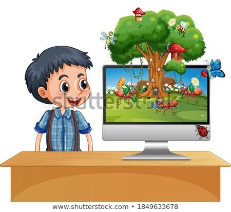 Insect koninkrijk computerscherm illustratie computer boom Stockfoto © bluering