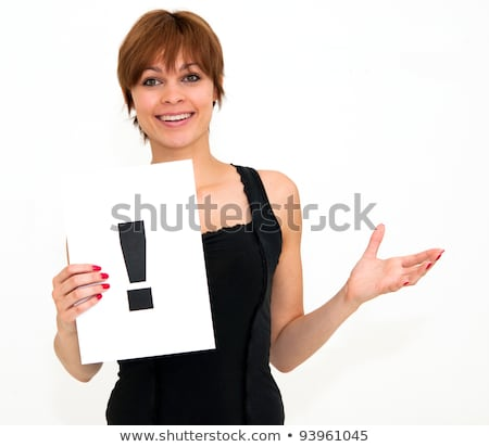 woman with board exclamation point  Stock photo © ilolab