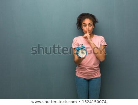美しい · 若い女性 · 目覚まし時計 · ジェスチャー - ストックフォト © ilolab