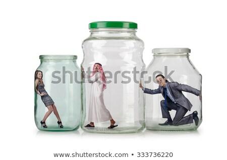 Férfi csapdába esett üveg bögre fehér terv Stock fotó © creisinger