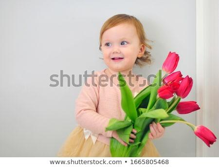 csinos · lány · virágok · nő · tavasz · szem - stock fotó © Nobilior