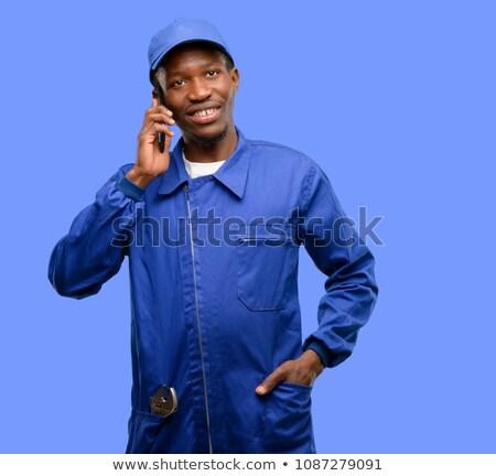 Aprendiz encanador telefone escritório papel menina Foto stock © photography33
