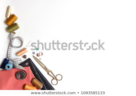 tools for needlework colorful threads and scissors on wooden bac Stock photo © inxti