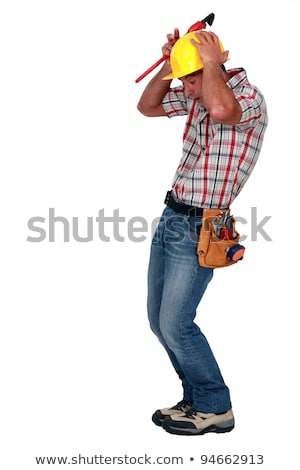 A construction worker afraid of a rodent. Stock photo © photography33