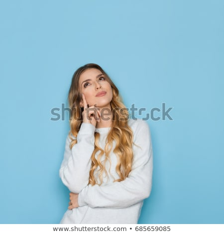 Beautiful woman watching up thinking Stock photo © CandyboxPhoto