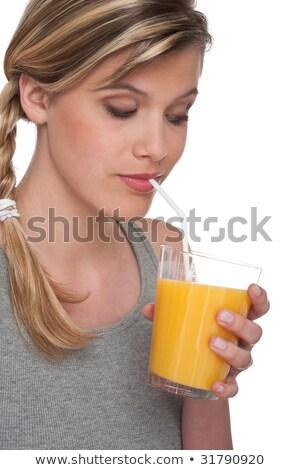 jonge · vrouw · drinken · sinaasappelsap · foto · vrouw · gelukkig - stockfoto © candyboxphoto