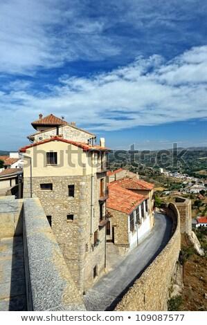 small spanish town with mountain view morella in span stock photo © pilgrimego