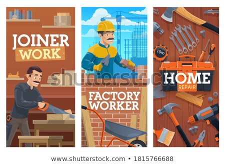 Bricklayer with a board of wood Stock photo © photography33