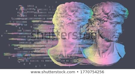 Humanismo cabeça conjunto dois wireframe diferente Foto stock © fixer00