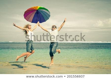 fitness · paar · springen · leuk · strand · outdoor - stockfoto © juniart