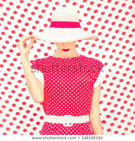 cute · mujer · moda · modelo · retro · vestido - foto stock © gromovataya